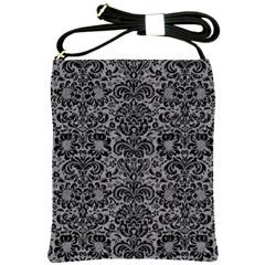 Damask2 Black Marble & Gray Colored Pencil (r) Shoulder Sling Bags