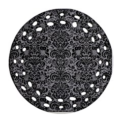 Damask2 Black Marble & Gray Colored Pencil (r) Ornament (round Filigree)