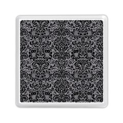 Damask2 Black Marble & Gray Colored Pencil (r) Memory Card Reader (square)