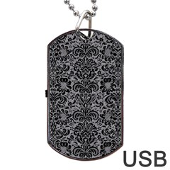 Damask2 Black Marble & Gray Colored Pencil (r) Dog Tag Usb Flash (two Sides)