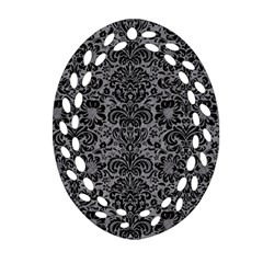 Damask2 Black Marble & Gray Colored Pencil (r) Oval Filigree Ornament (two Sides)