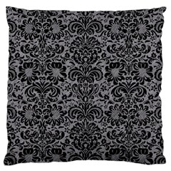 Damask2 Black Marble & Gray Colored Pencil (r) Large Cushion Case (one Side)