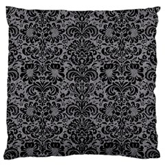 Damask2 Black Marble & Gray Colored Pencil (r) Large Flano Cushion Case (one Side)