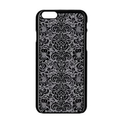 Damask2 Black Marble & Gray Colored Pencil (r) Apple Iphone 6/6s Black Enamel Case