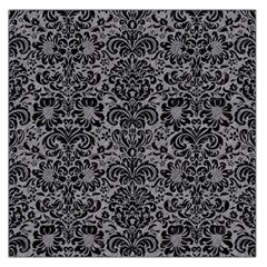 Damask2 Black Marble & Gray Colored Pencil (r) Large Satin Scarf (square)