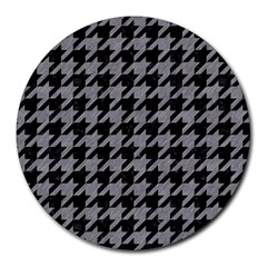 Houndstooth1 Black Marble & Gray Colored Pencil Round Mousepads