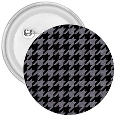 Houndstooth1 Black Marble & Gray Colored Pencil 3  Buttons