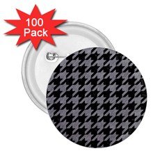 Houndstooth1 Black Marble & Gray Colored Pencil 2 25  Buttons (100 Pack)