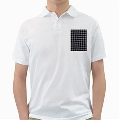 Houndstooth1 Black Marble & Gray Colored Pencil Golf Shirts
