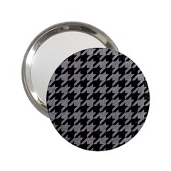 Houndstooth1 Black Marble & Gray Colored Pencil 2 25  Handbag Mirrors