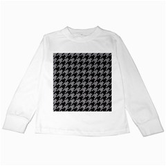 Houndstooth1 Black Marble & Gray Colored Pencil Kids Long Sleeve T Shirts