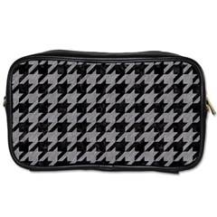 Houndstooth1 Black Marble & Gray Colored Pencil Toiletries Bags 2 Side