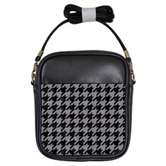 Houndstooth1 Black Marble & Gray Colored Pencil Girls Sling Bags