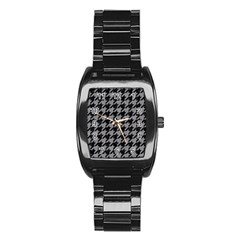 Houndstooth1 Black Marble & Gray Colored Pencil Stainless Steel Barrel Watch