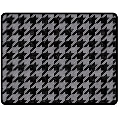 Houndstooth1 Black Marble & Gray Colored Pencil Double Sided Fleece Blanket (medium)