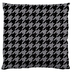 Houndstooth1 Black Marble & Gray Colored Pencil Large Flano Cushion Case (one Side)