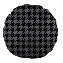 Houndstooth1 Black Marble & Gray Colored Pencil Large 18  Premium Flano Round Cushions