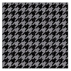 Houndstooth1 Black Marble & Gray Colored Pencil Large Satin Scarf (square)