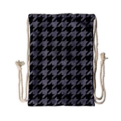 Houndstooth1 Black Marble & Gray Colored Pencil Drawstring Bag (small)