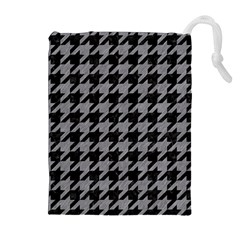 Houndstooth1 Black Marble & Gray Colored Pencil Drawstring Pouches (extra Large)