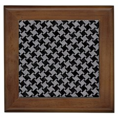 Houndstooth2 Black Marble & Gray Colored Pencil Framed Tiles