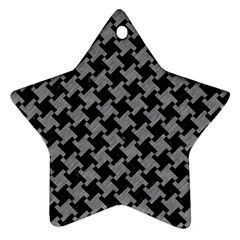 Houndstooth2 Black Marble & Gray Colored Pencil Ornament (star)