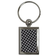 Houndstooth2 Black Marble & Gray Colored Pencil Key Chains (rectangle)