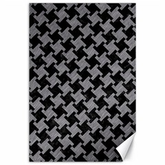 Houndstooth2 Black Marble & Gray Colored Pencil Canvas 24  X 36