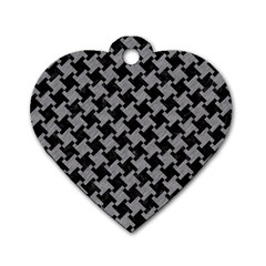 Houndstooth2 Black Marble & Gray Colored Pencil Dog Tag Heart (one Side)