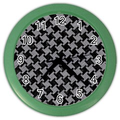 Houndstooth2 Black Marble & Gray Colored Pencil Color Wall Clocks