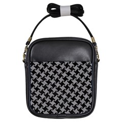 Houndstooth2 Black Marble & Gray Colored Pencil Girls Sling Bags