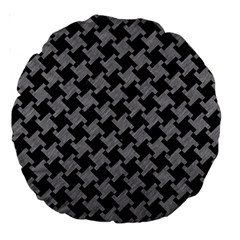 Houndstooth2 Black Marble & Gray Colored Pencil Large 18  Premium Round Cushions