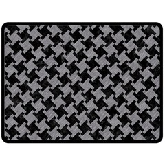 Houndstooth2 Black Marble & Gray Colored Pencil Double Sided Fleece Blanket (large)