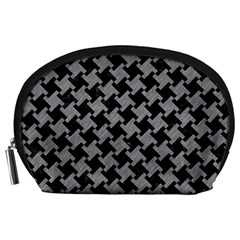 Houndstooth2 Black Marble & Gray Colored Pencil Accessory Pouches (large)