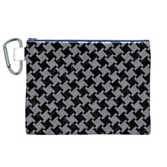 Houndstooth2 Black Marble & Gray Colored Pencil Canvas Cosmetic Bag (xl)
