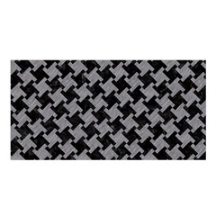 Houndstooth2 Black Marble & Gray Colored Pencil Satin Shawl