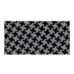 Houndstooth2 Black Marble & Gray Colored Pencil Satin Wrap