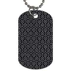 Hexagon1 Black Marble & Gray Colored Pencil Dog Tag (two Sides)