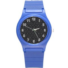 Hexagon1 Black Marble & Gray Colored Pencil Round Plastic Sport Watch (s)