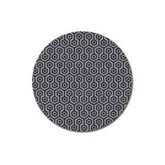 Hexagon1 Black Marble & Gray Colored Pencil (r) Magnet 3  (round)