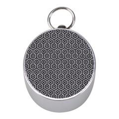 Hexagon1 Black Marble & Gray Colored Pencil (r) Mini Silver Compasses