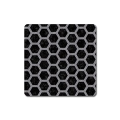 Hexagon2 Black Marble & Gray Colored Pencil Square Magnet