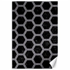 Hexagon2 Black Marble & Gray Colored Pencil Canvas 20  X 30