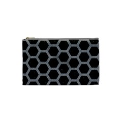 Hexagon2 Black Marble & Gray Colored Pencil Cosmetic Bag (small)