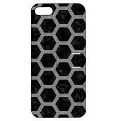 Hexagon2 Black Marble & Gray Colored Pencil Apple Iphone 5 Hardshell Case With Stand