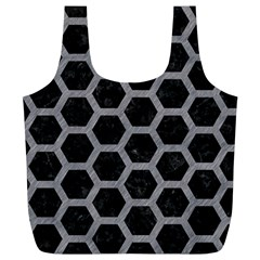 Hexagon2 Black Marble & Gray Colored Pencil Full Print Recycle Bags (l)