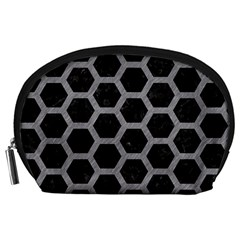 Hexagon2 Black Marble & Gray Colored Pencil Accessory Pouches (large)