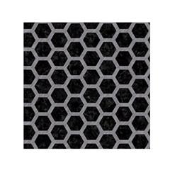 Hexagon2 Black Marble & Gray Colored Pencil Small Satin Scarf (square)