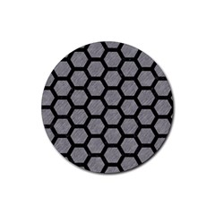 Hexagon2 Black Marble & Gray Colored Pencil (r) Rubber Round Coaster (4 Pack)