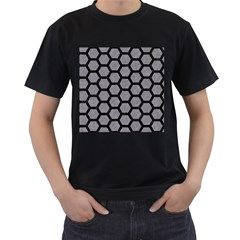 Hexagon2 Black Marble & Gray Colored Pencil (r) Men s T Shirt (black) (two Sided)